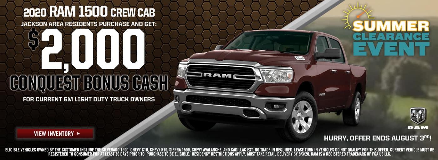 2020 Ram 1500 Crew Cab - $2000 Bonus Cash