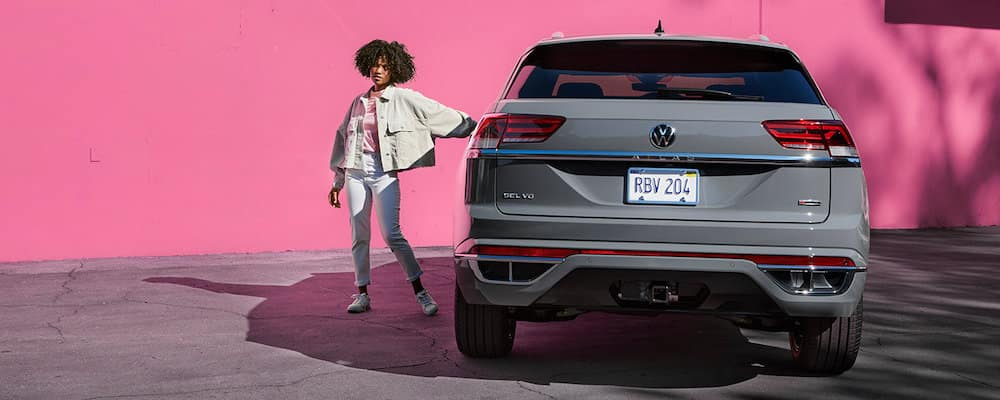 2021 VW Atlas Cross Sport Parked in Front of Pink Wall