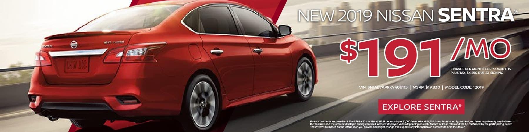 New 2019 Nissan Sentra S FWD 4D Sedan