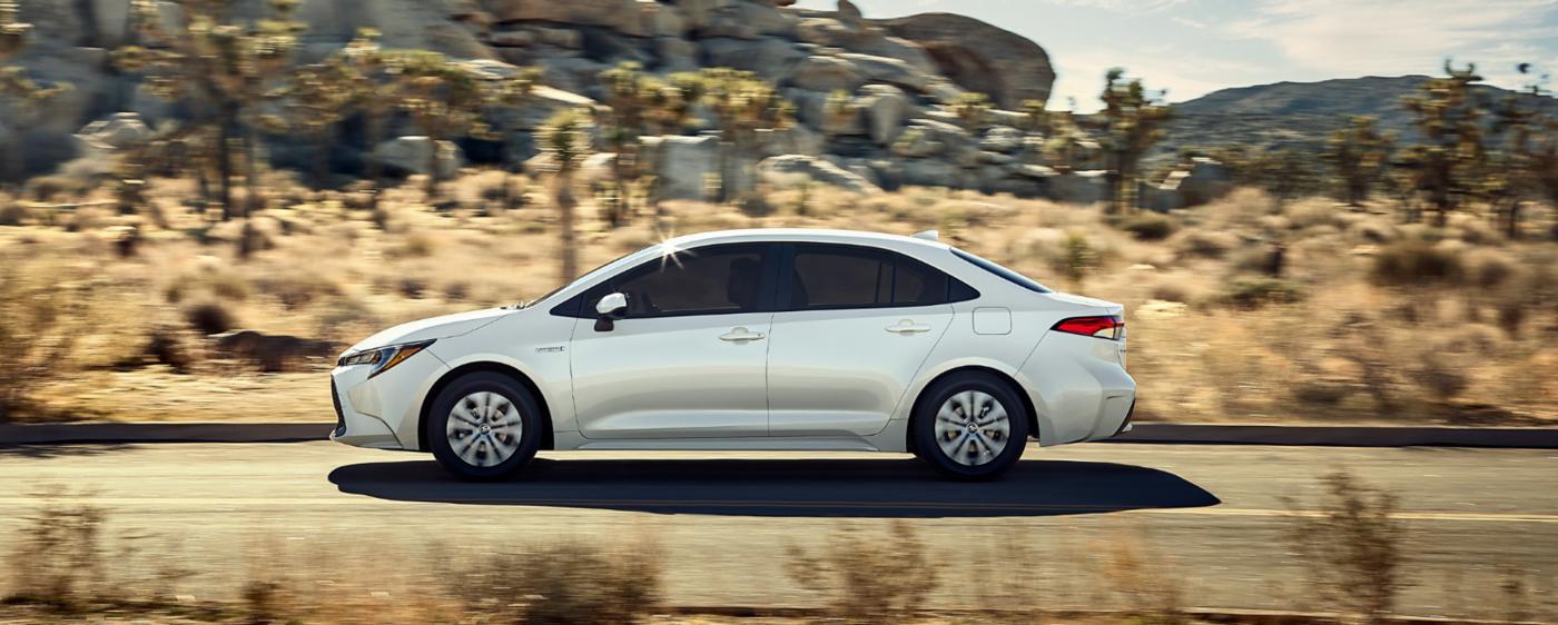 White Toyota Corolla driving in the desert