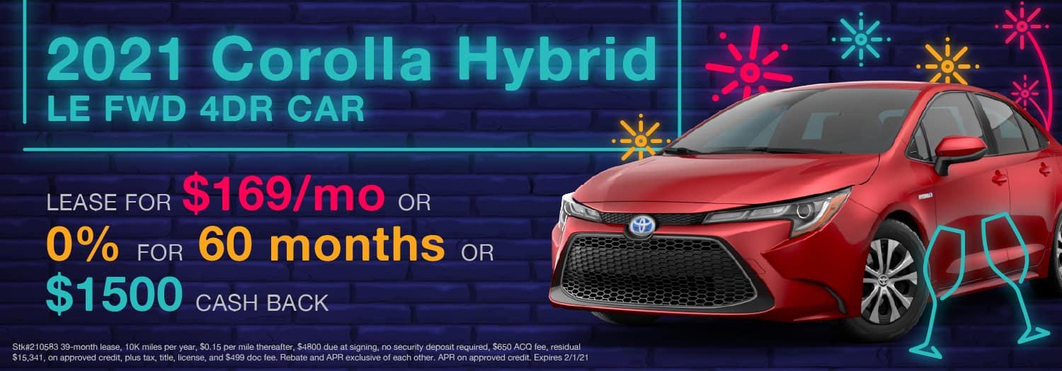 2021 Corolla Hybrid LE FWD 4DR CAR Lease for $169/mo - Riverview Toyota