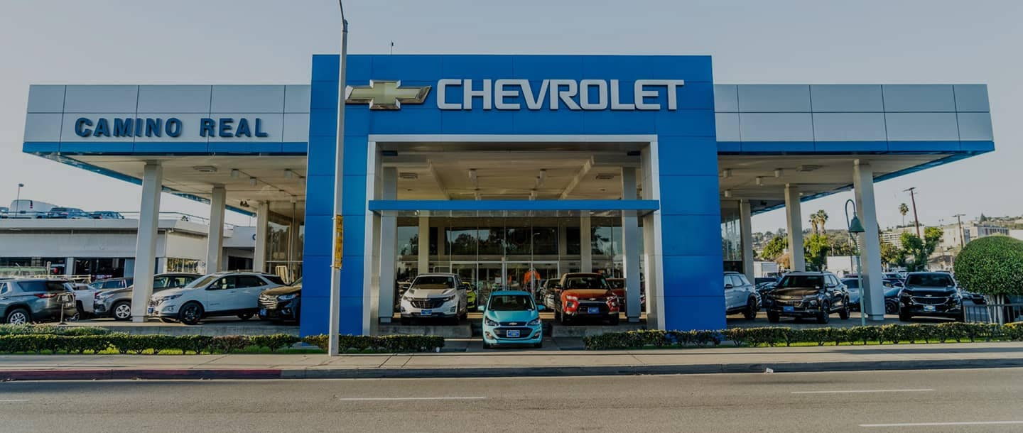 Front of the Camino Real Chevrolet showroom in Monterery Park