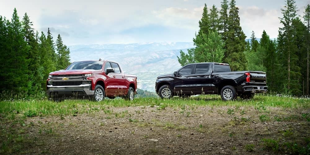 2021 Silverado trucks parked on the grass