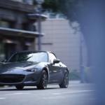 2020 Mazda Miata dark blue sports car in city setting