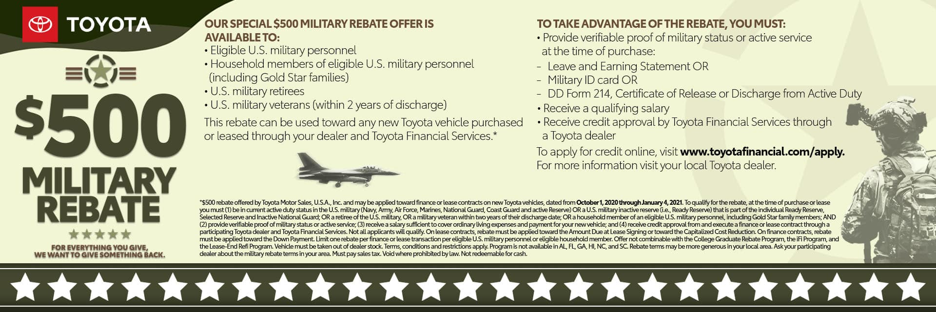 $500 Military Rebate Offer&Incentive1920x640 Slider-Wilkesboro