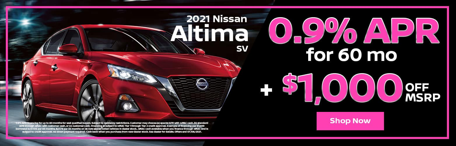 2021 Nissan Altima SV: 0.9% APR for 60 mo + $1,000 OFF MSRP