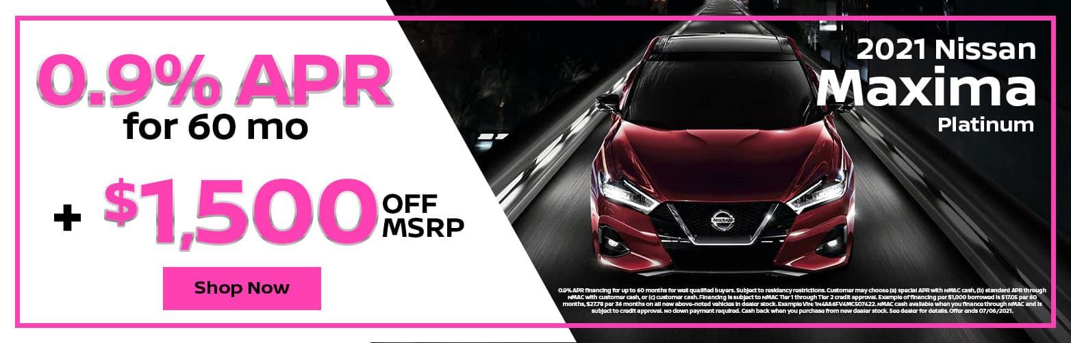 2021 Nissan Maxima Platinum: 0.9% APR for 60 mo + $1,500 OFF MSRP