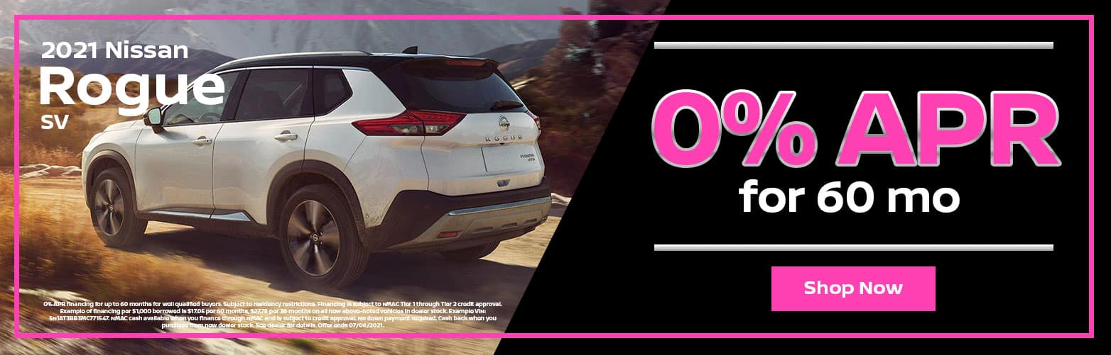2021 Nissan Rogue SV: 0% APR for 60 mo