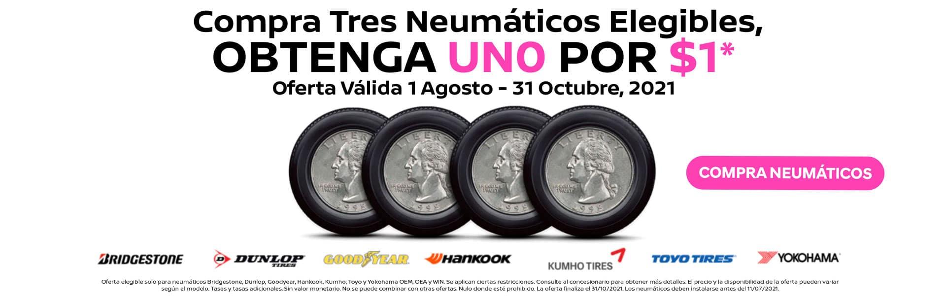 Compra 3 Neumáticos Elegibles, OBTENGA 1 POR $1