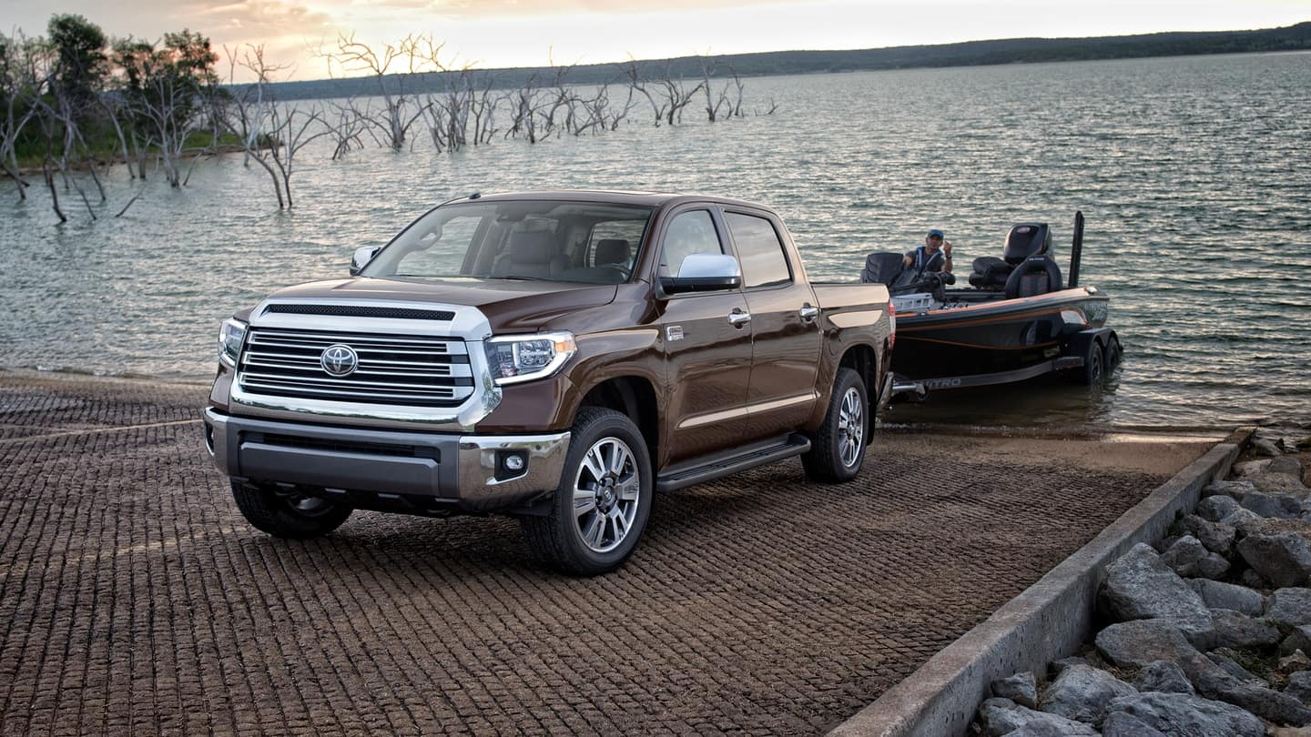 2020 Toyota Tundra towing boat out of water