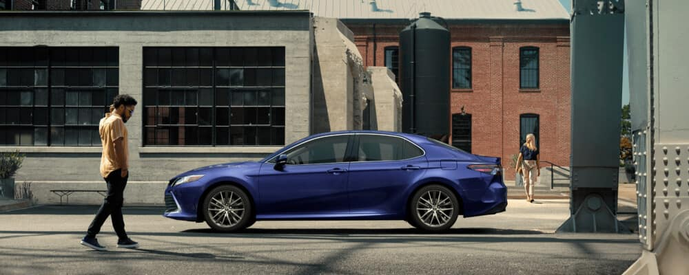 Blue 2021 Toyota Camry outside home