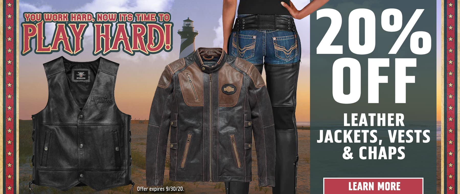 20% OFF Leather Jackets, Vests & Chaps