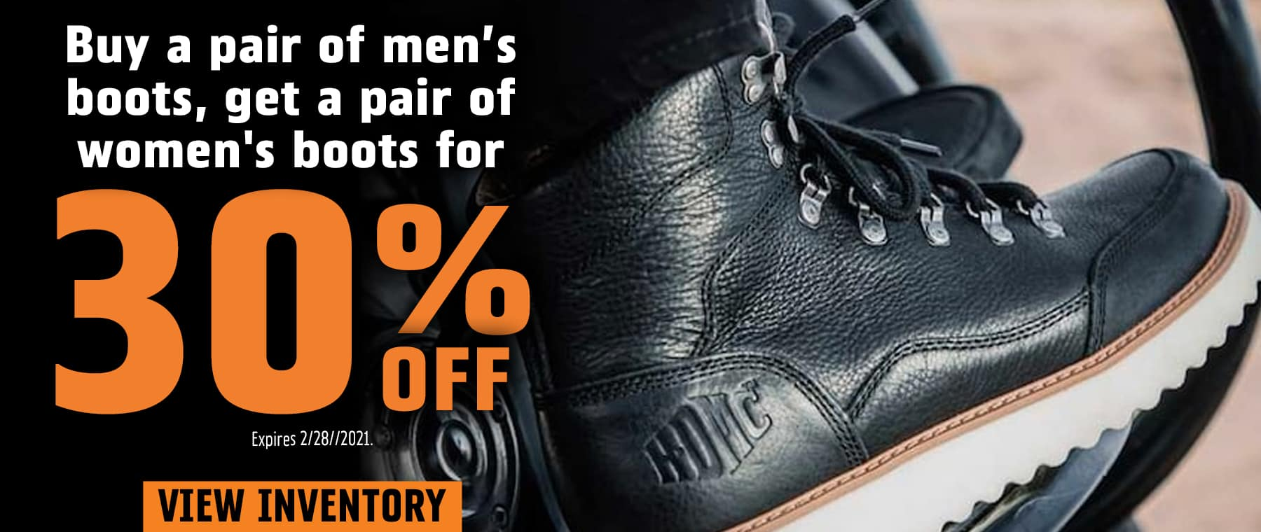 Buy Men's Boots, Get Women's Boots 30% OFF