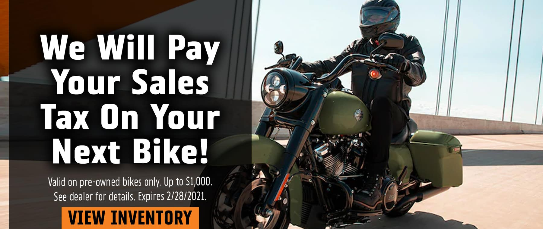 We Will Pay Your Sales Tax On Your Next Bike!