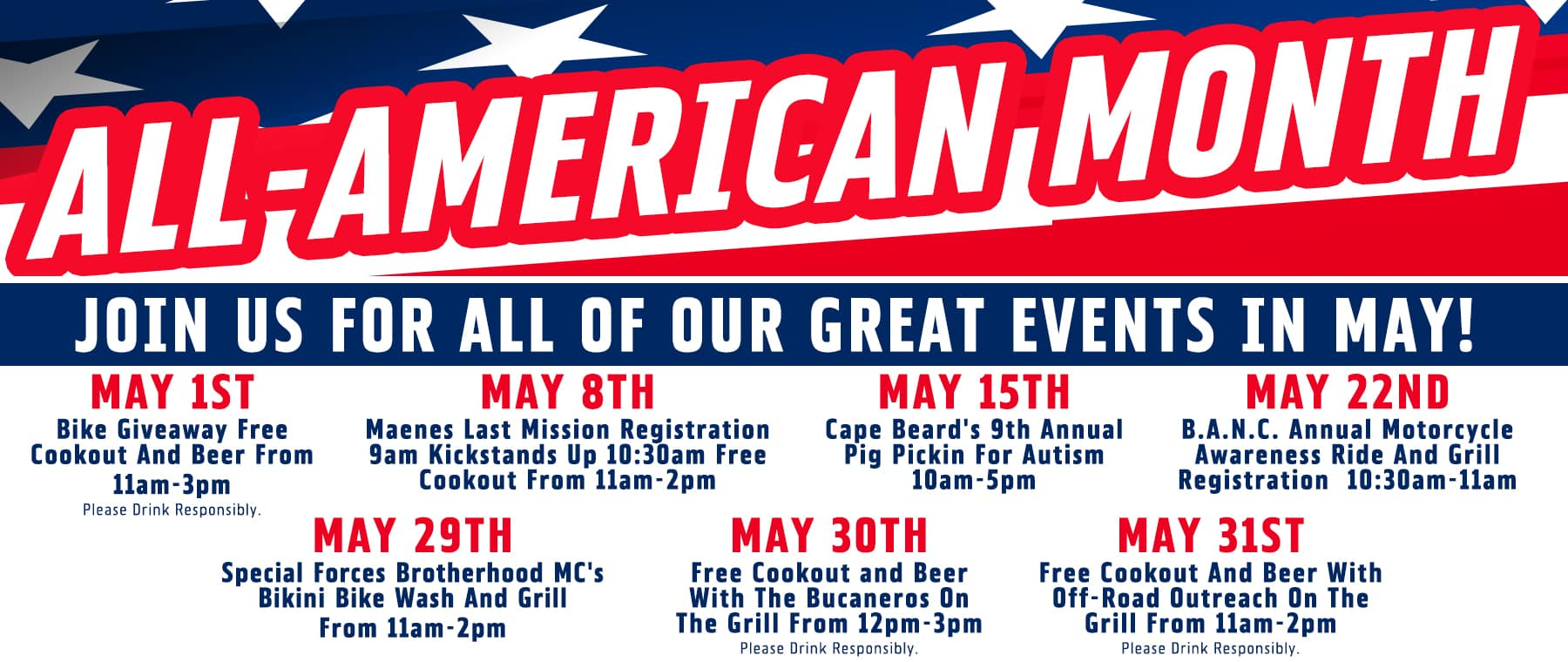 ALL-AMERICAN MONTH EVENTS