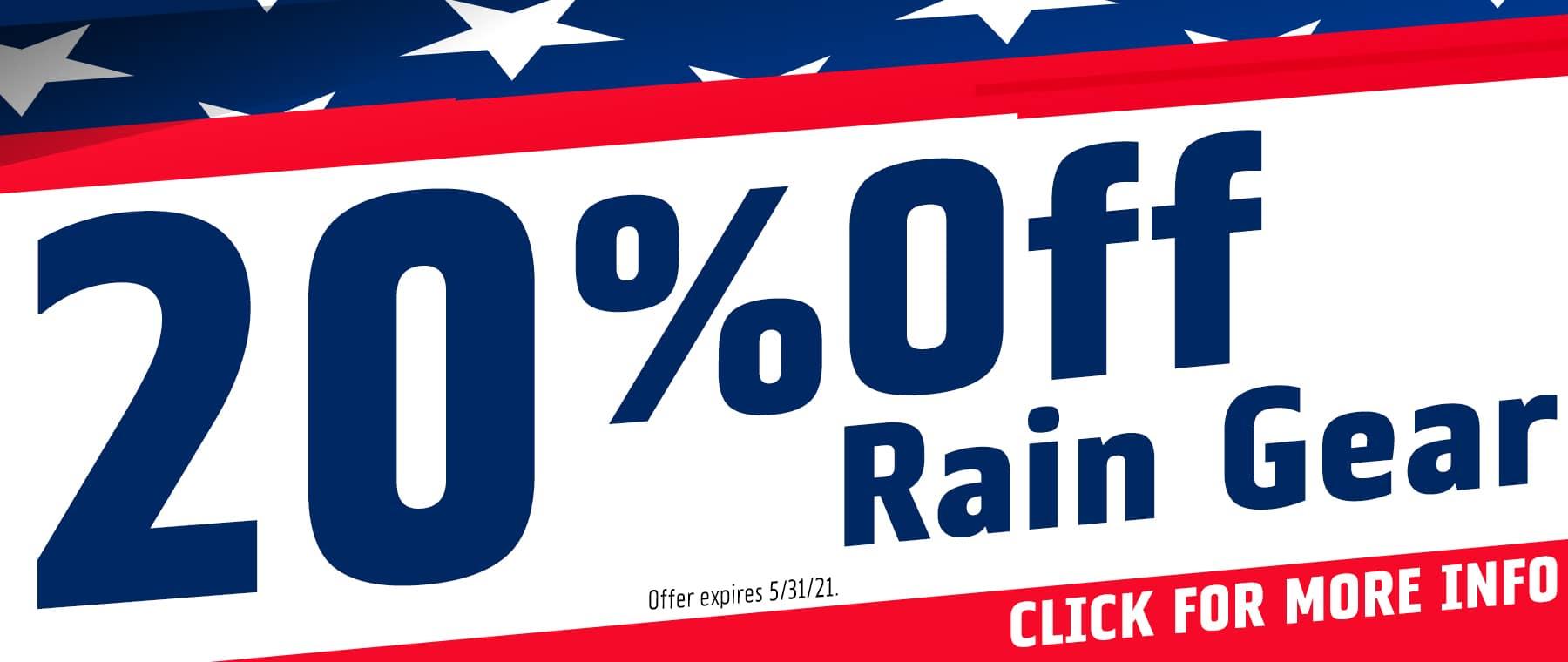 20% OFF RAIN GEAR