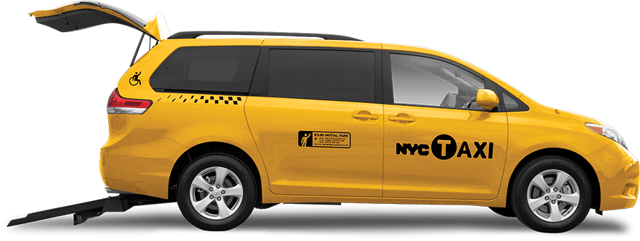 NYC Taxi With Rear Entry Wheelchair Ramp