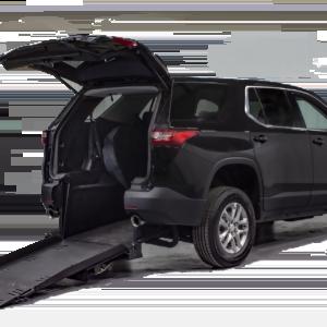 Black Chevy Traverse Rear Entry