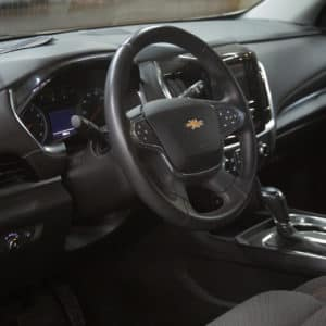 Wheelchair accessible Traverse steering wheel and dashboard interior