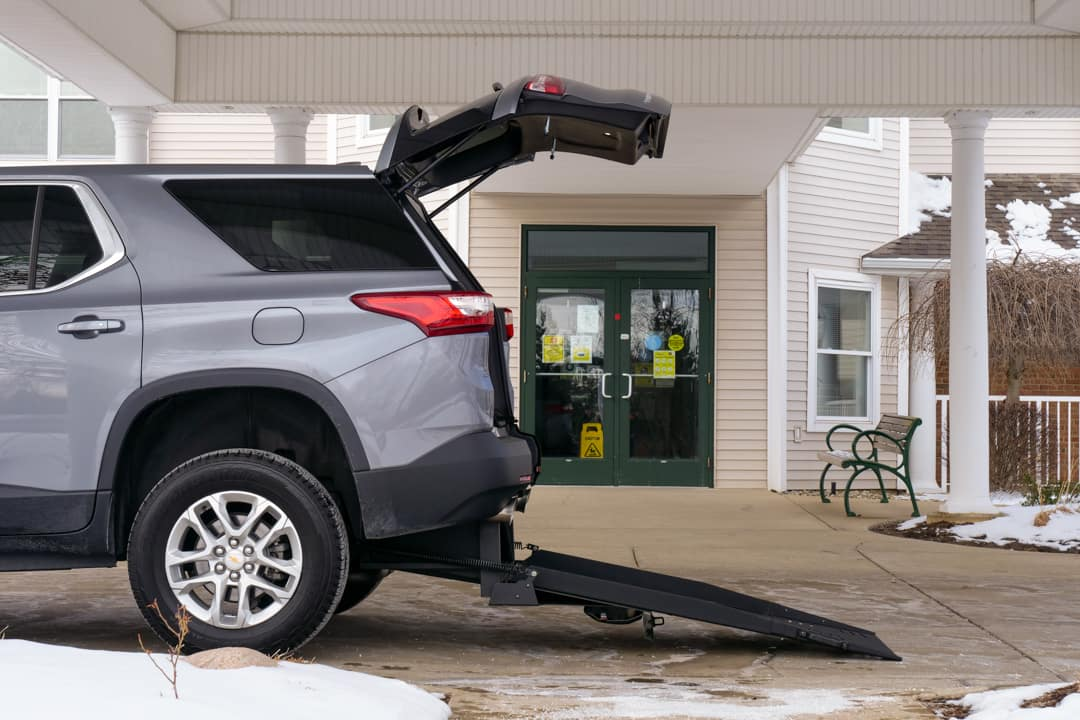 Grey Wheelchair Accessible Chevrolet Traverse Outside