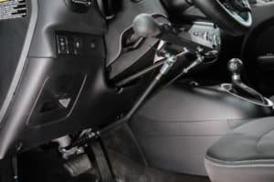Wheelchair accessible vehicle hand controls.