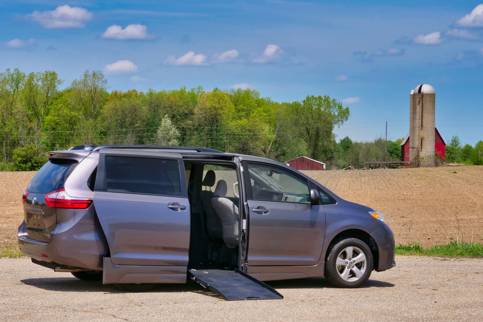 A side entry wheelchair accessible Toyota Sienna.