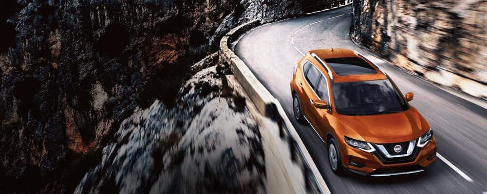 2020 Nissan Rogue on a mountain road