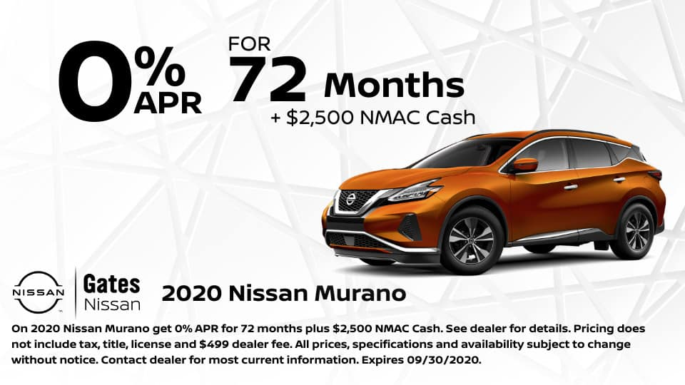 0% for 72 Months on 2020 Nissan Murano