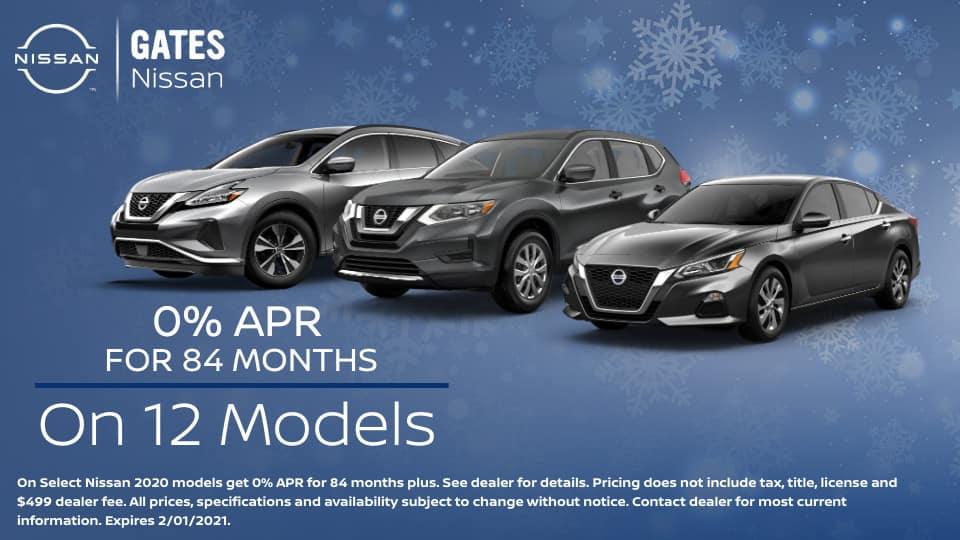 12 models for 0% APR at Gates Nissan