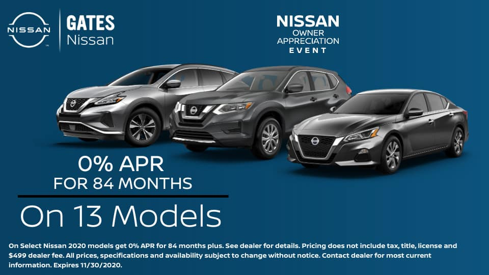 0% APR on 13 Nissan Models