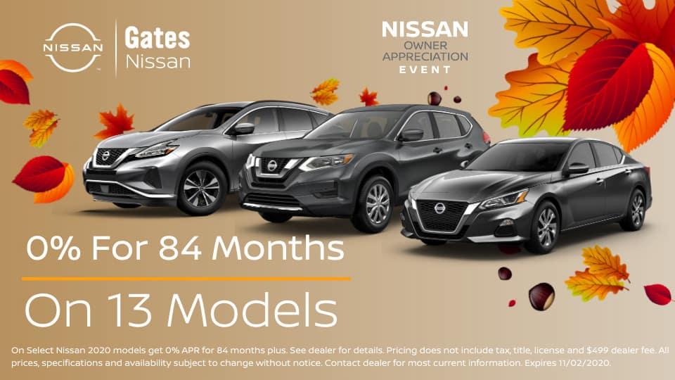 0% on 13 models at Gates Nissan