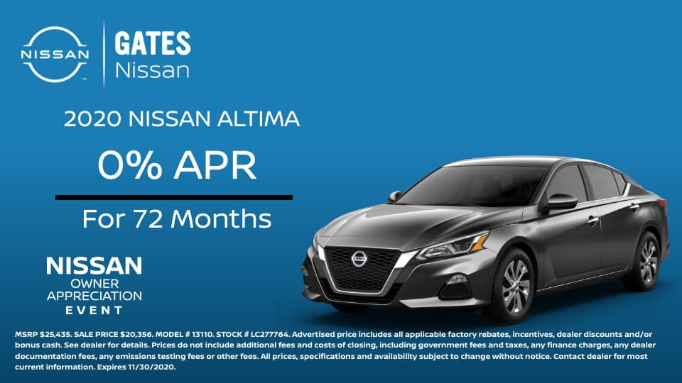 0% APR up to 72 Months at Gates Nissan