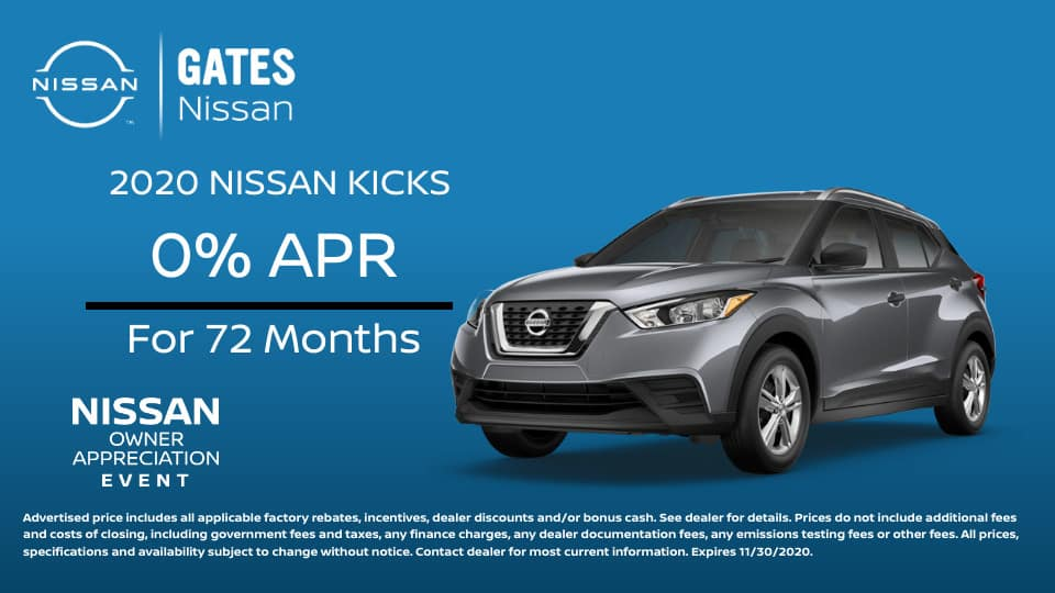 0% APR on Nissan Kicks at Gates Nissan