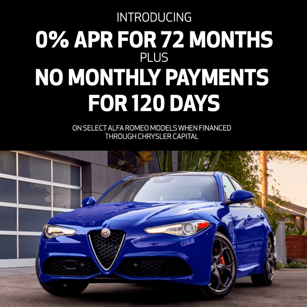 0% APR For 72 Months plus No Monthly Payments for 120 Days