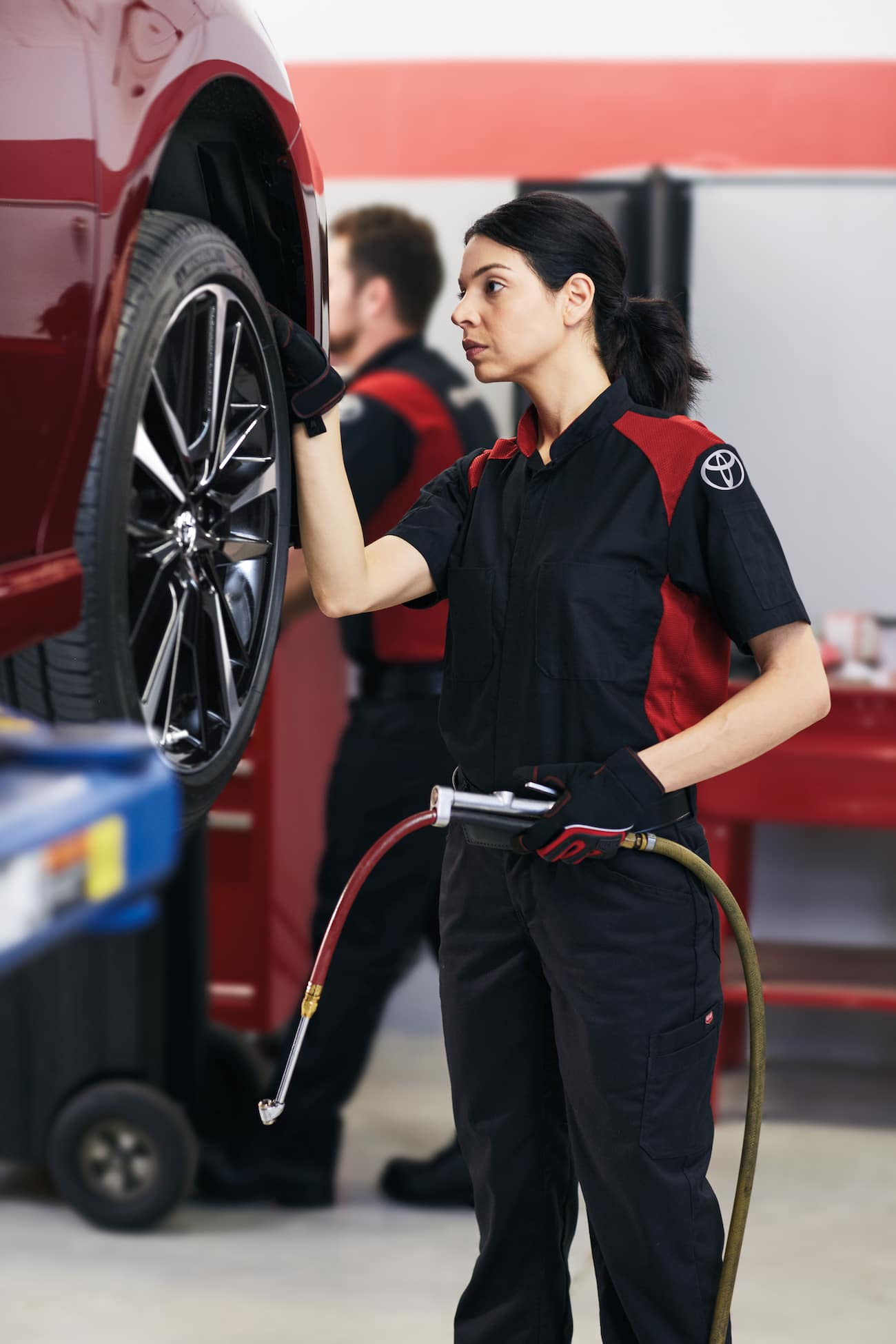 How to check your tires' health at Hanover Toyota | Technician checking car tire
