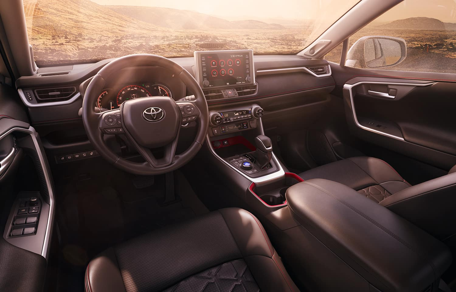 Performance features of the 2020 Toyota RAV4 at Hanover Toyota | The dashboard of the 2020 RAV4