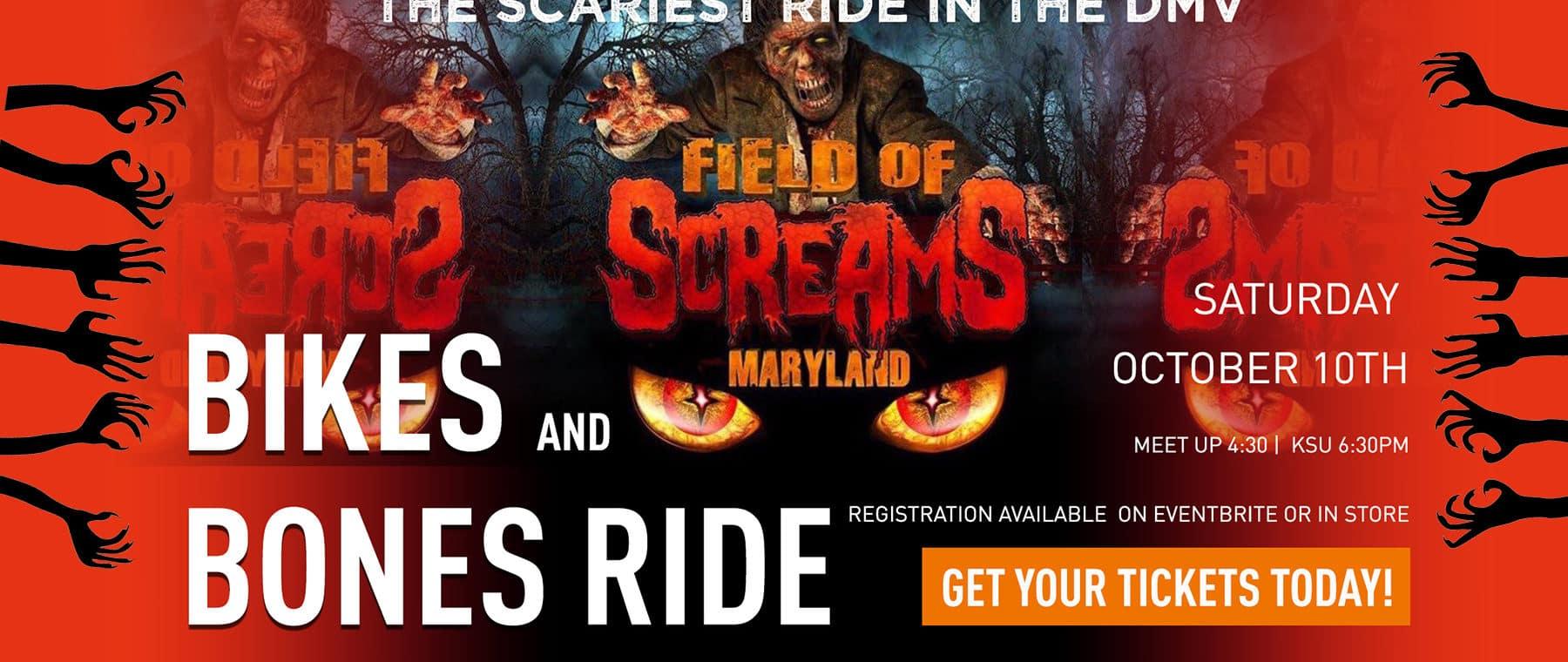 Bikes and bones, field of screams, olney md, ride, halloween