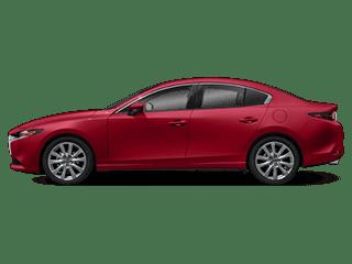 red mazda3 sedan