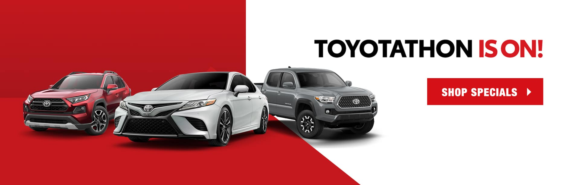 three Toyotas against a red and white background