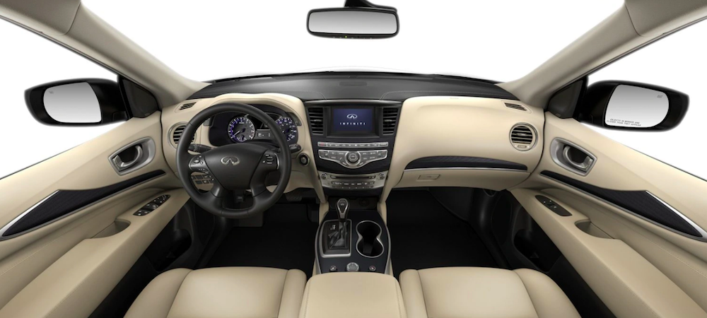 Front seat view of QX60 interior with white interior