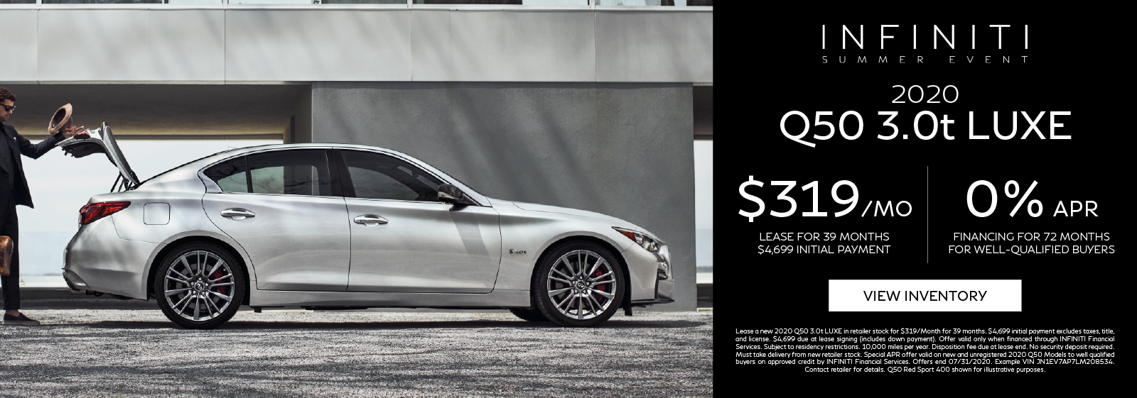 Lease a new 2020 Q50 3.0t LUXE for $319 per month for 39 months. Click to view inventory.