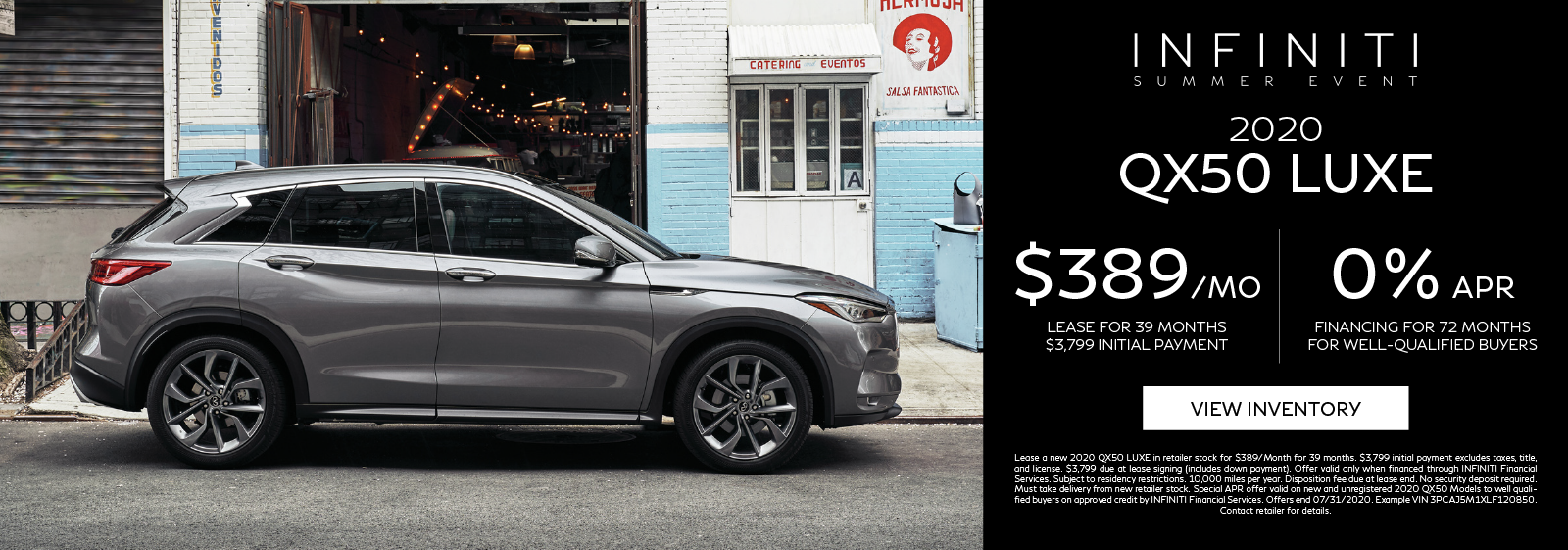 Lease a new 2020 QX50 LUXE for $389 per month for 39 months. Click to view inventory.