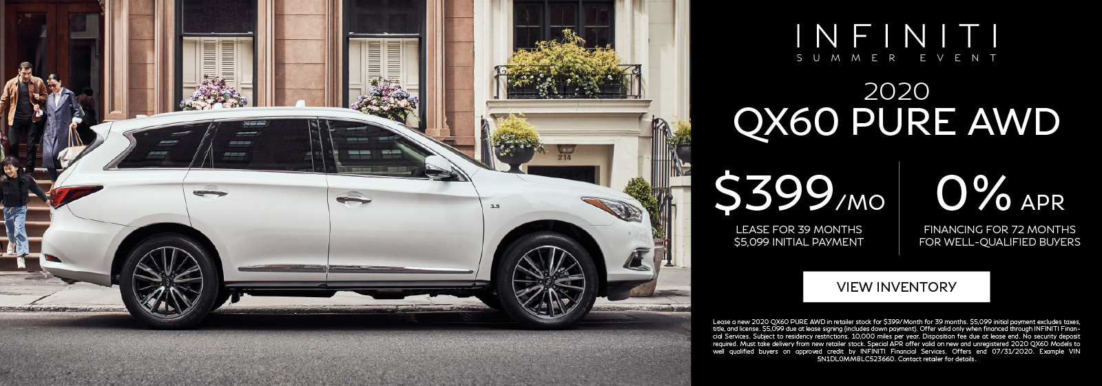 Lease a new 2020 QX60 PURE AWD for $399 per month for 39 months. Click to view inventory.