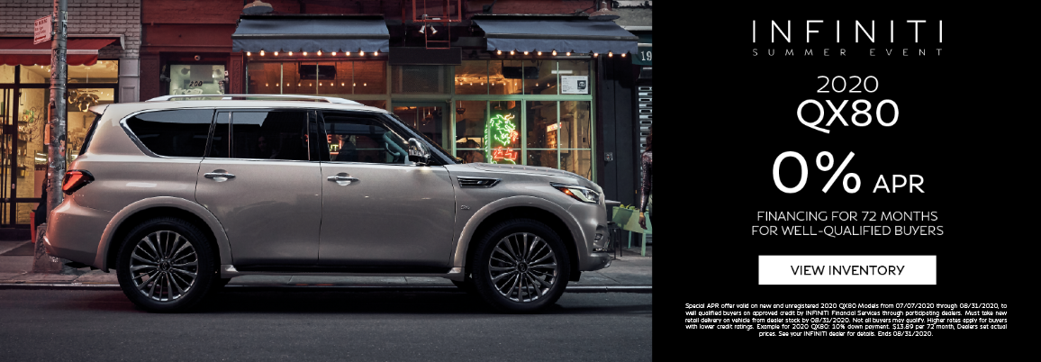 Get 0% APR financing for 72 months on all new 2020 QX80 models. For well-qualified buyer. Click to view inventory.