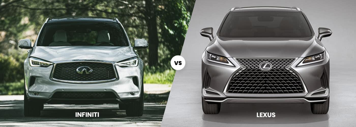 A 2020 INFINITI next to a 2020 Lexus