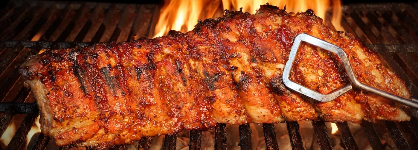 Rack of BBQ Ribs on a Grill