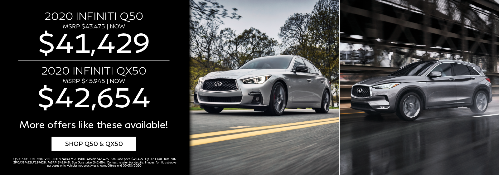 on new 2020 INFINITI Q50s and QX50s! Click to shop now.