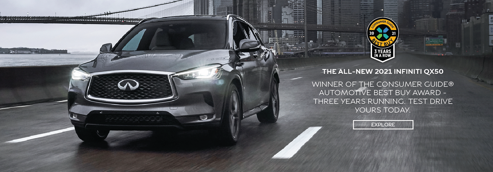 The all-new 2021 INFINITI qx50. Winner of the consumer guide automotive best buy award three years running. Test drive yours today. Click to explore.