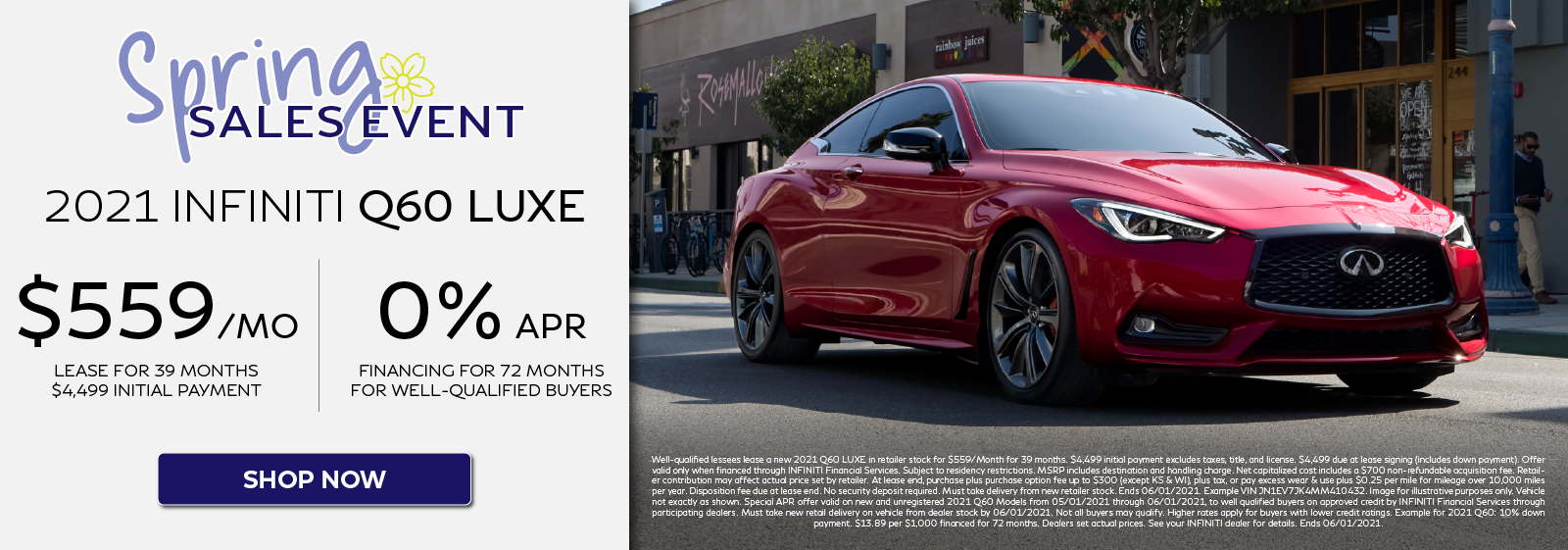 2021 Q60 LUXE Lease and APR Offers. Click to shop now.