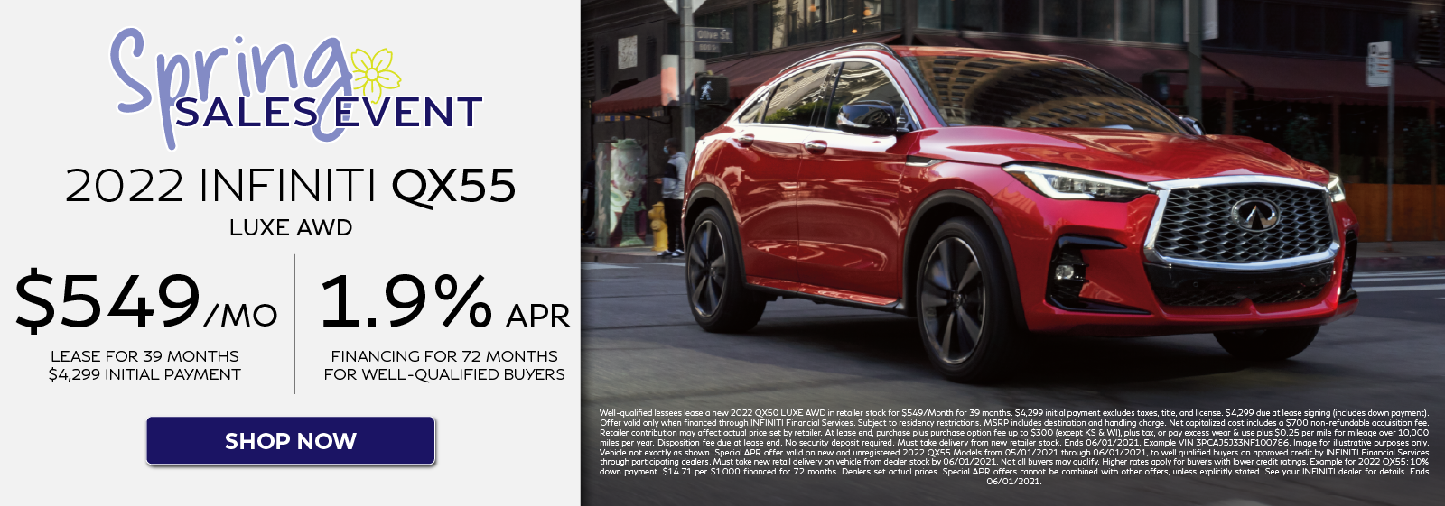 2022 QX55 LUXE AWD Lease and APR Offers. Click to shop now.